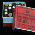 $250 - This is a partial box of 7mm pinfire blank cartridges by Societe Francaise des Munitions.