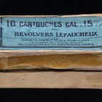 $75 - Empty box for 15mm pinfire by Societe Francaise des Munitions.