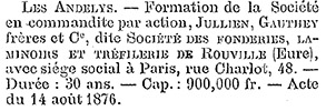 Documentation on initial funding and establishment for Fonderies, Laminoirs et Tréfilerie de Rouville