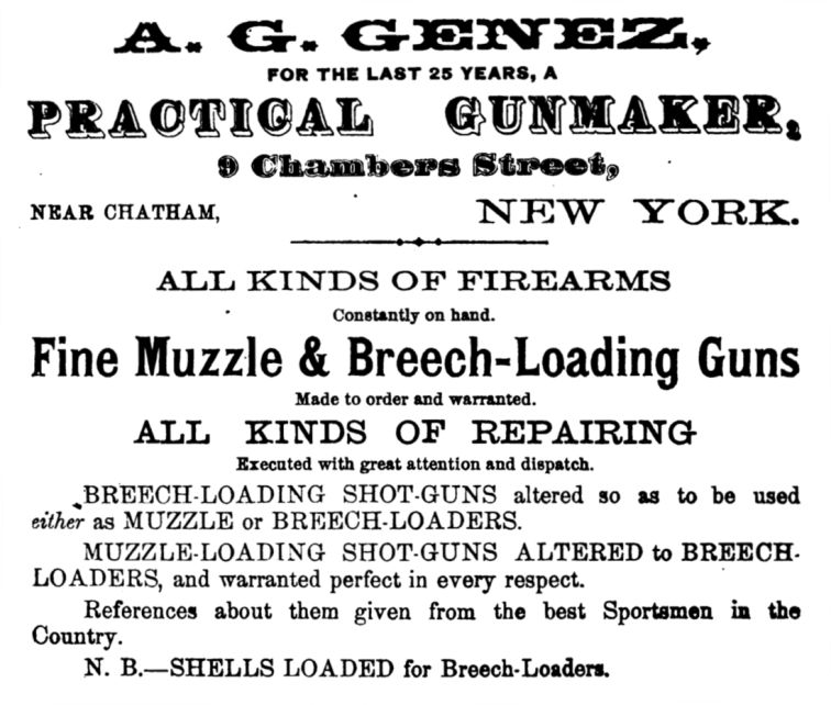 Advertisement by A. G. Genez