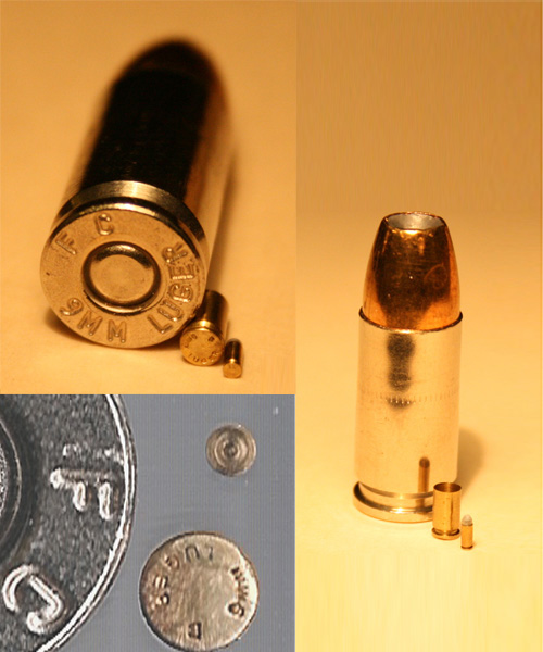 1/4 scale and 1/10 scale 9mm Luger